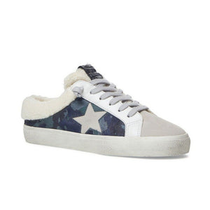 The Star Sneaker Mule with Faux Fur Trim in Blue Camo