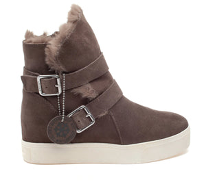 The Waterproof Moto Bootie on Sneaker Sole in Taupe