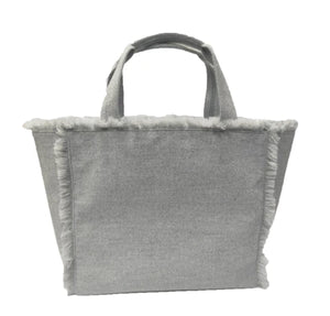 The Flannel Frayed Tote in Grey Solid