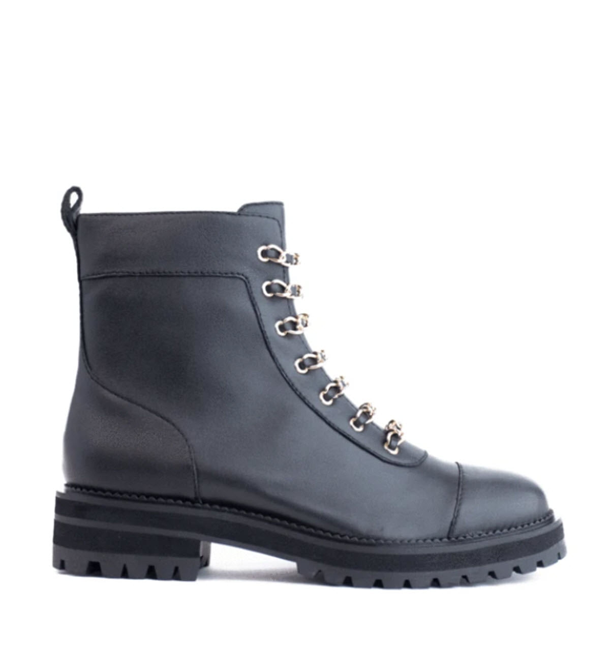 The Chain Lace Combat Boot in Black