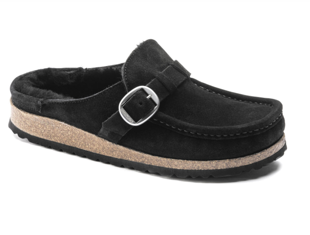 Buckey Shearling - The Moccasion Clog in Black
