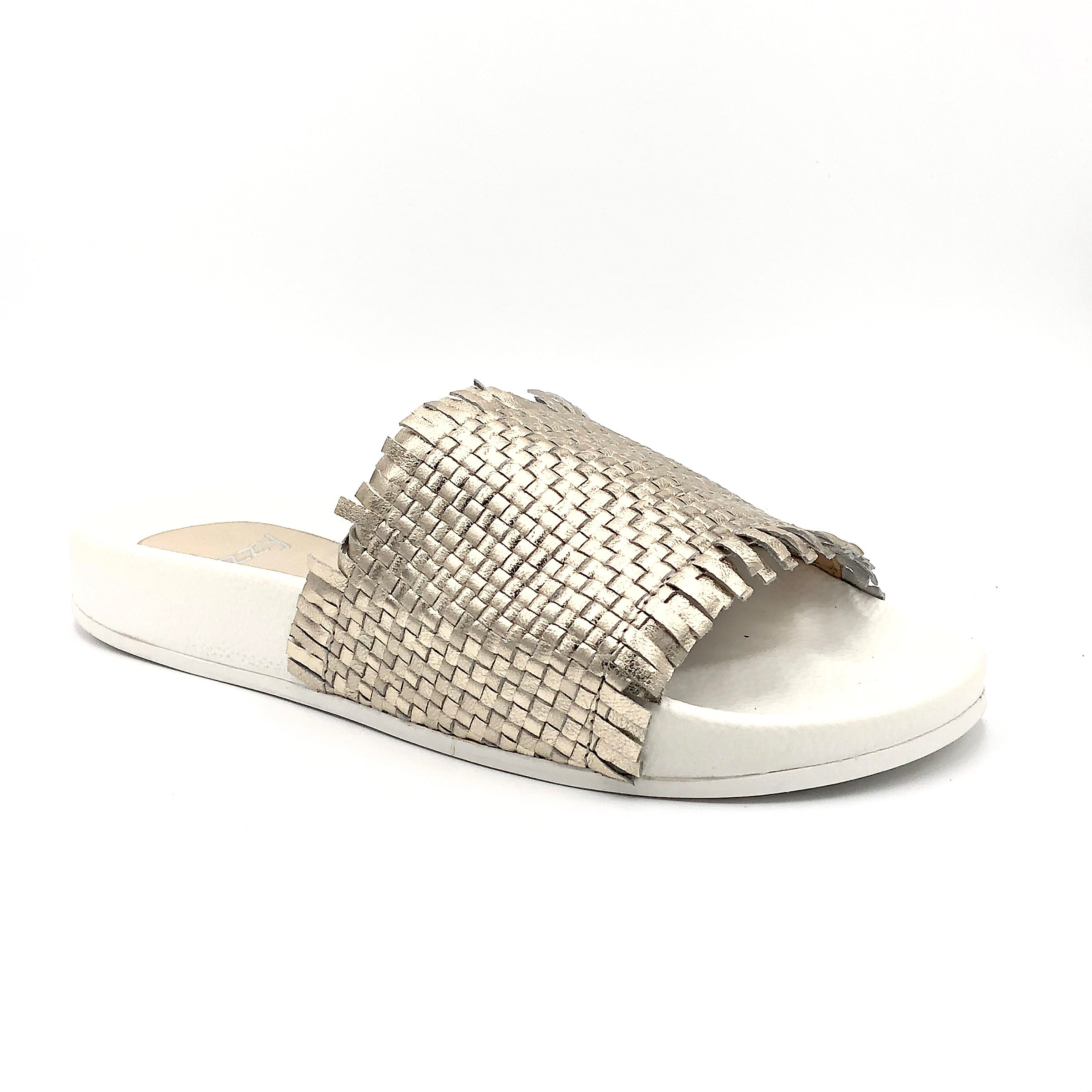 Lizzy B6053 - The Strapless Crop Jumpsuit. Slide into this lux woven leather upper sandal with PVC footbed sole. The metallic upper will add some shine to any outfit! Whole european size only. If you are a half size, larger whole size recommended.
