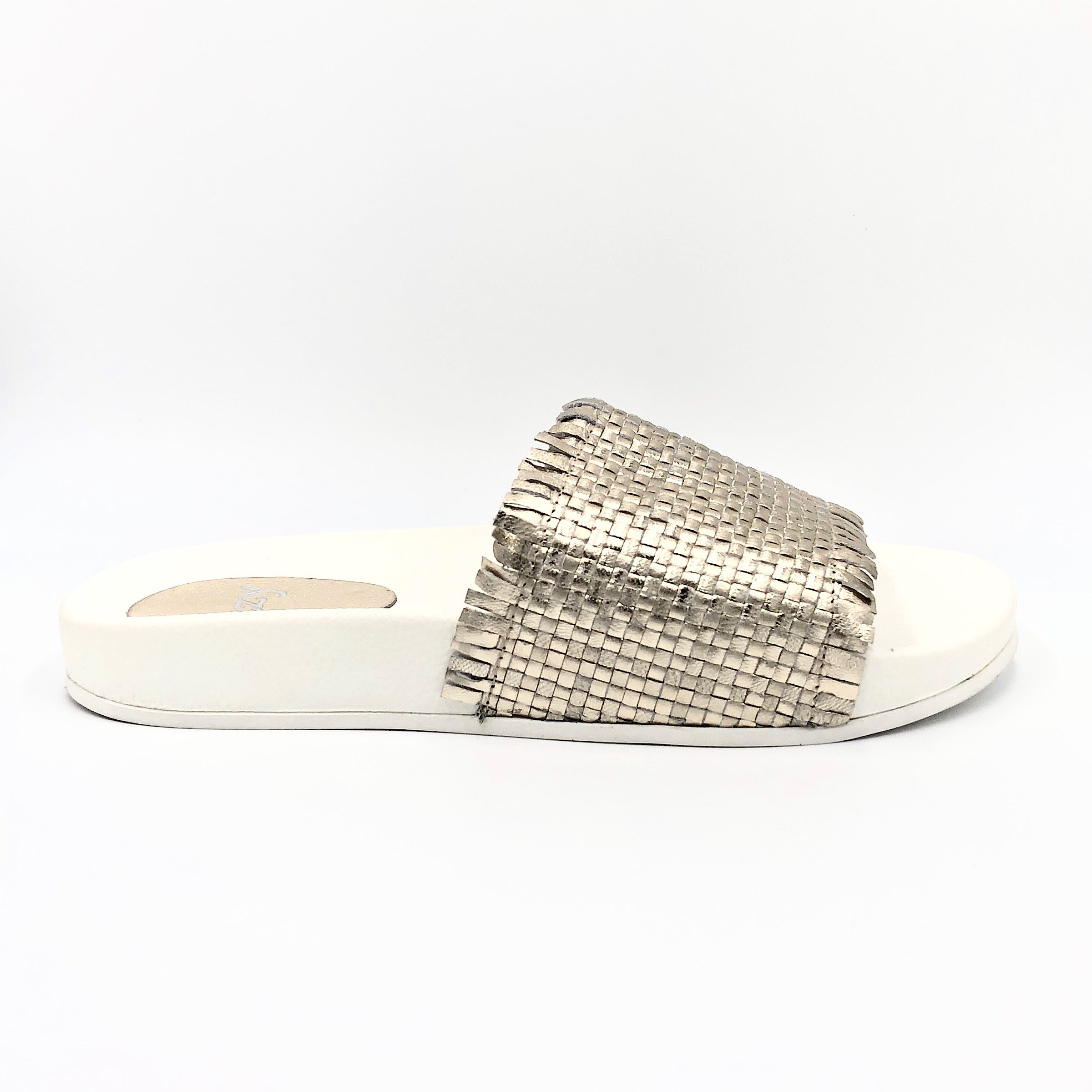 The Woven Frayed Edge Slide in Platino