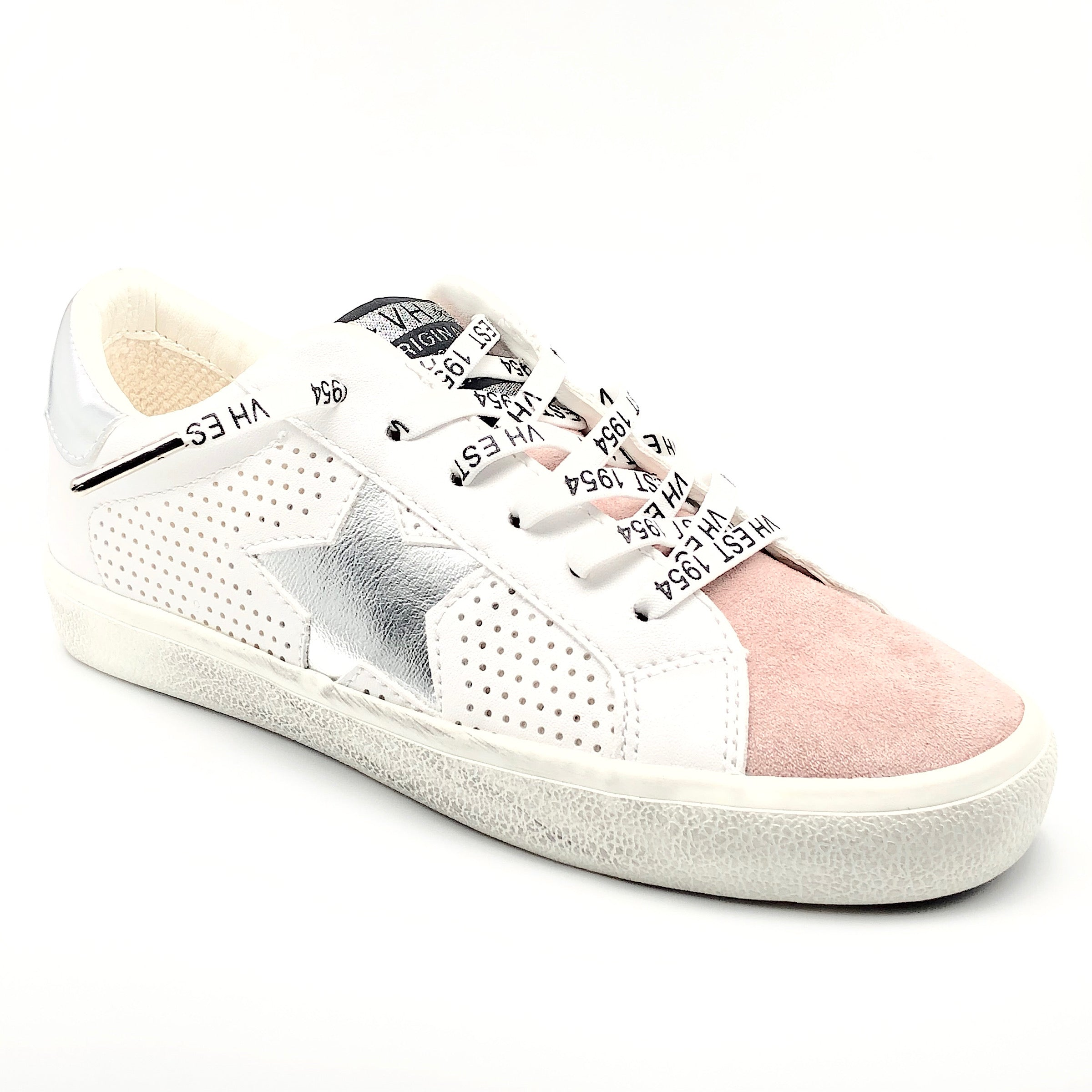 Gadol Vintage Havana The Star Perforated Lace Sneaker in White Pewter This best selling perforated white lace sneaker with pewter star is sylish, chic & versatile. Synthetic & leather upper, rubber sole, elastic laces for easy slip-on styling.