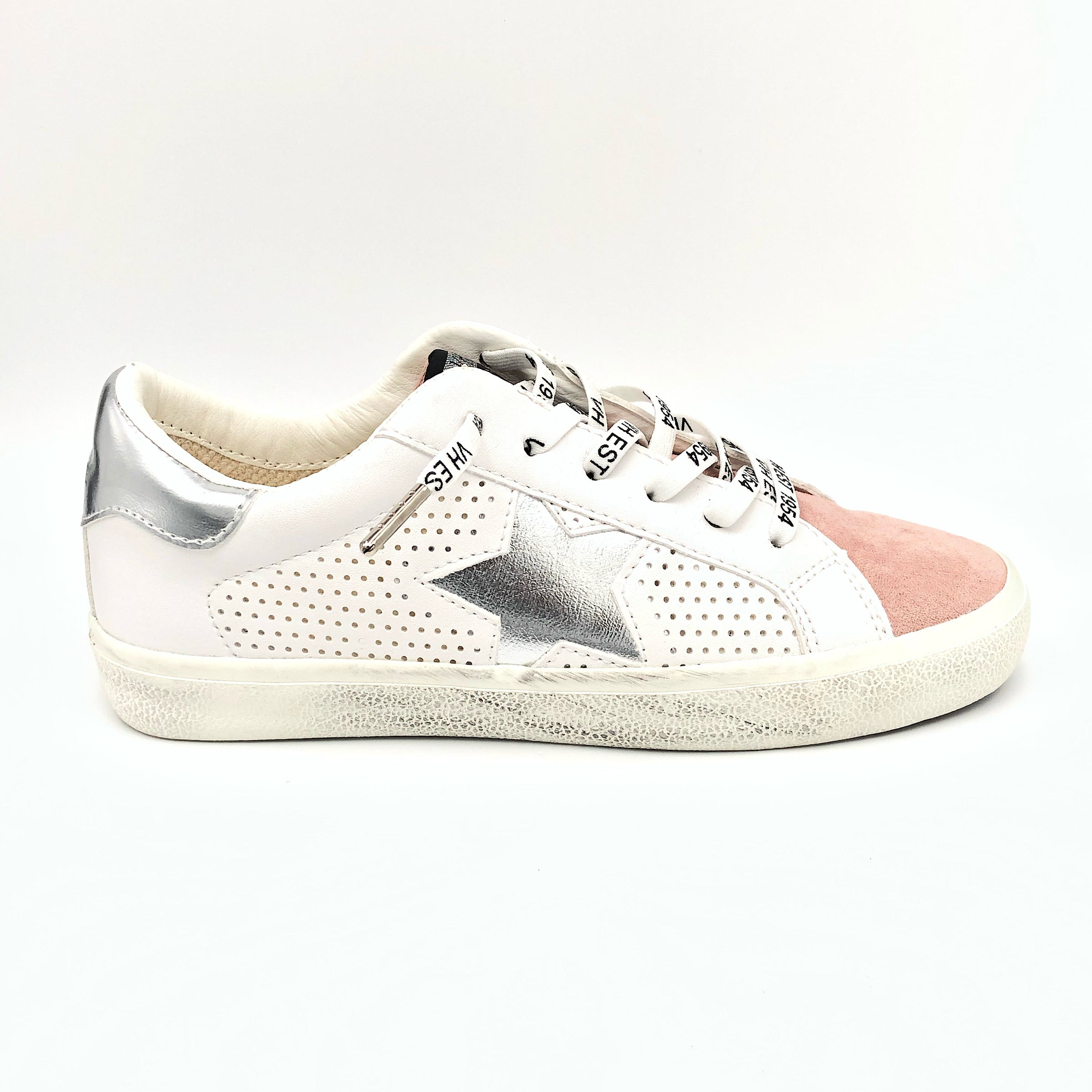 The Star Perforated Lace Sneaker in White Pewter