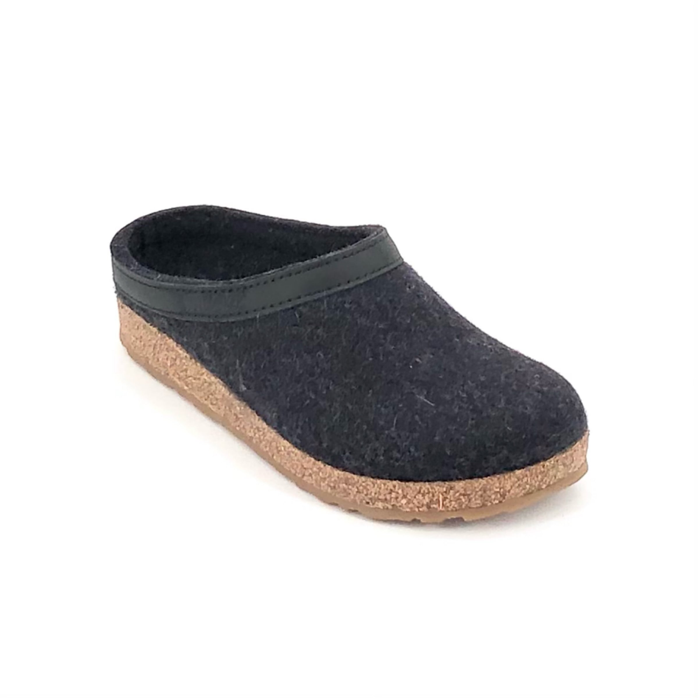 The Wool Clog with Leather Ribbon in Charcoal