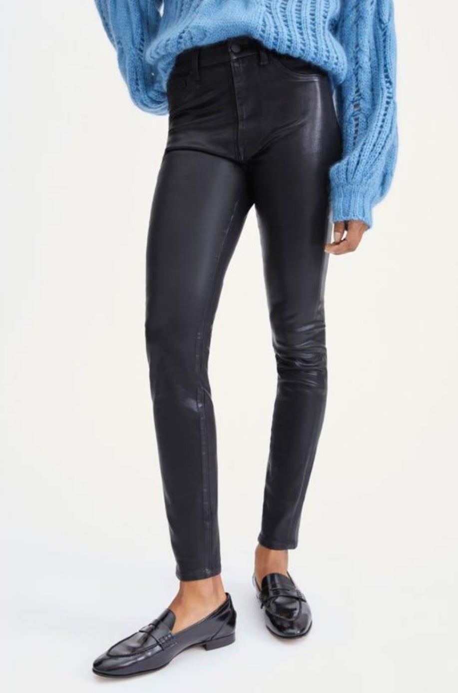 The Coated Ankle Skinny in Black