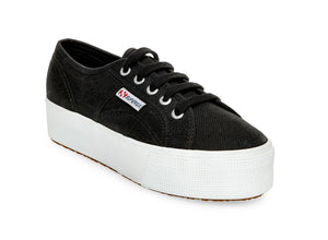 "Superga 2790 - The Classic Platform Lace Sneaker in Black. Classic style gets a lift. Simple lace up silhouette sneaker raised on a 1.5"" rubber platform. Washable canvas. A trendy update to the classic sneaker."