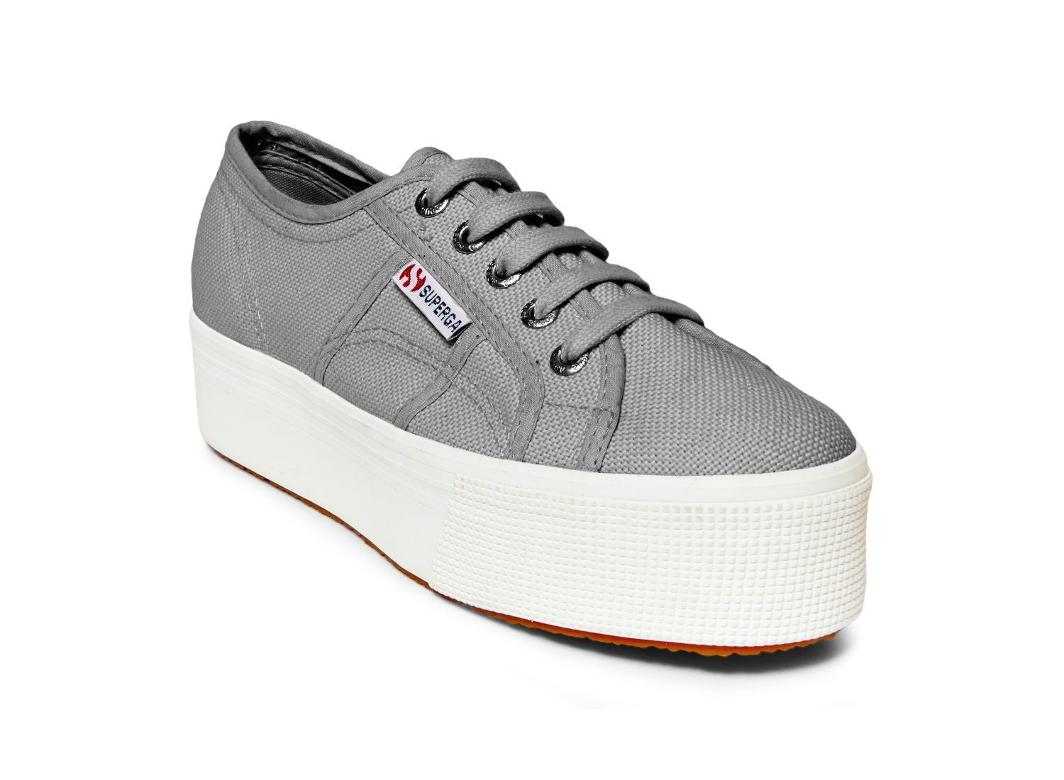 "Superga 2790 - The Classic Platform Lace Sneaker in Grey Sage. Classic style gets a lift. Simple lace up silhouette sneaker raised on a 1.5"" rubber platform. Washable canvas. A trendy update to the classic sneaker."