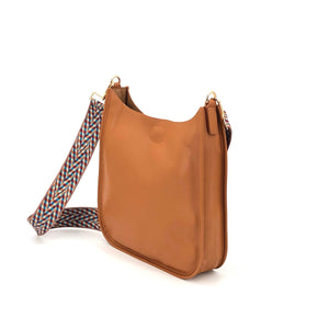 The Classic Messenger in Faux Leather Camel with Zig Zag Embroidered Strap