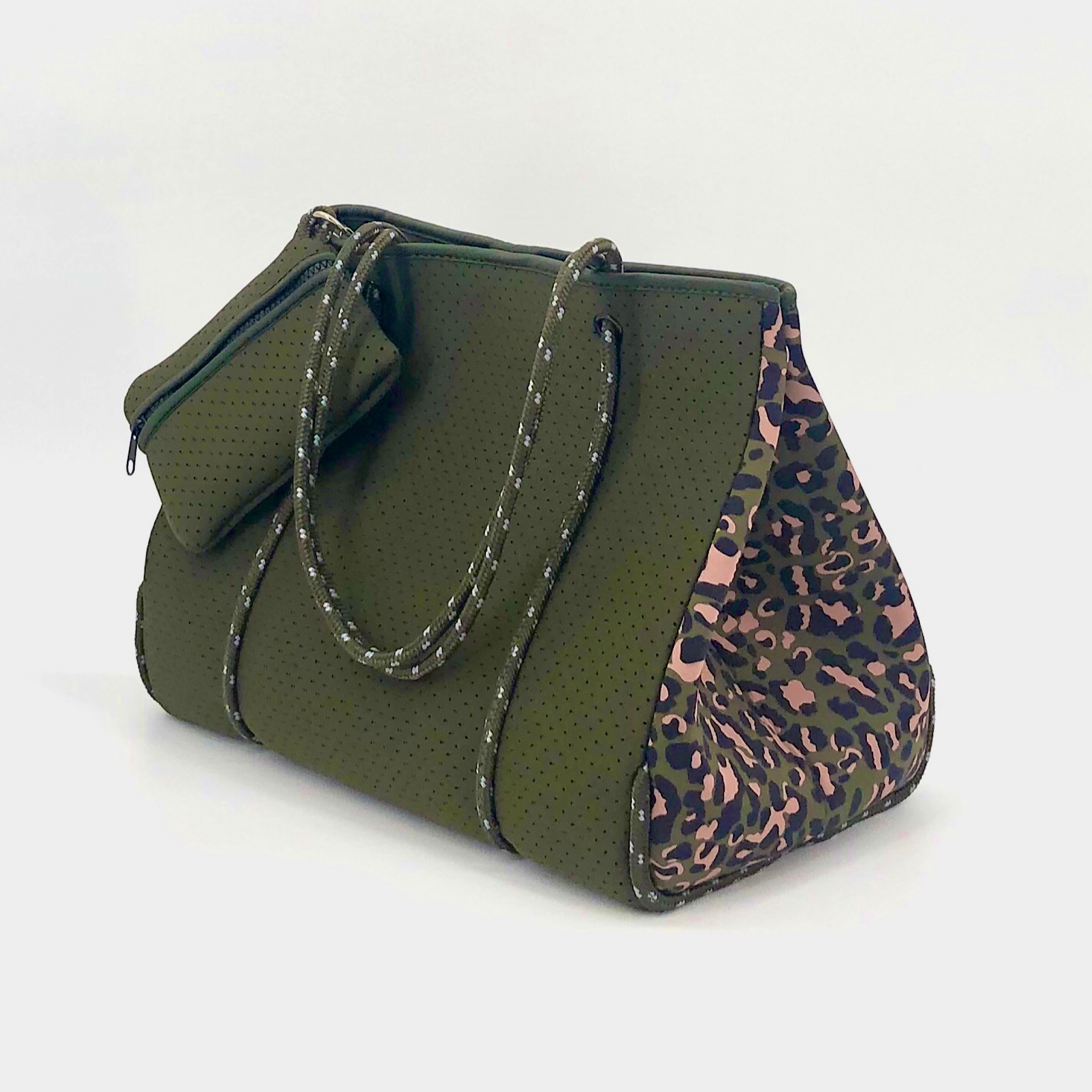 The Neoprene Tote in Army and Leopard