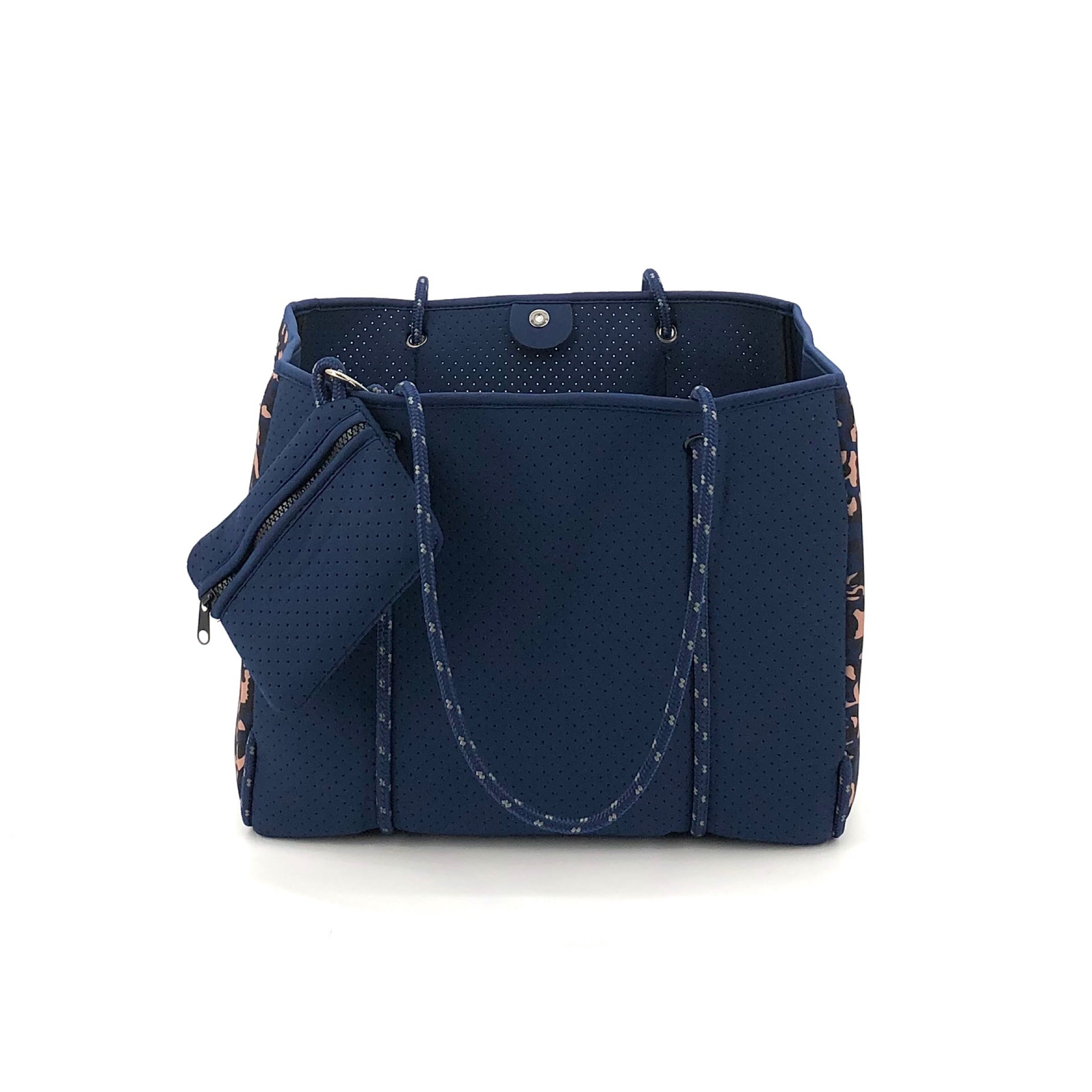 The Neoprene Tote in Navy and Leopard