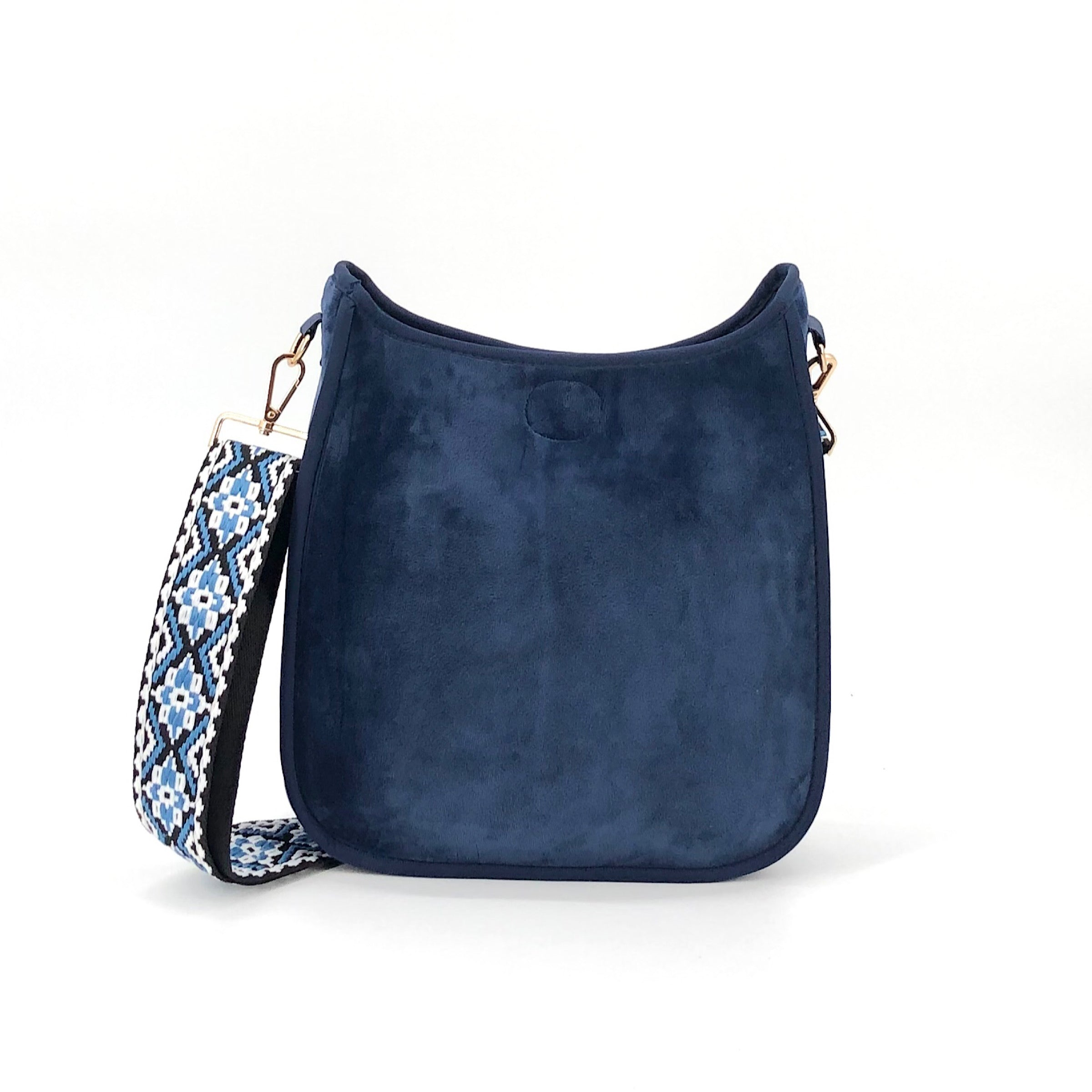 The Classic Messenger in Velvet Navy with Embroidered Strap