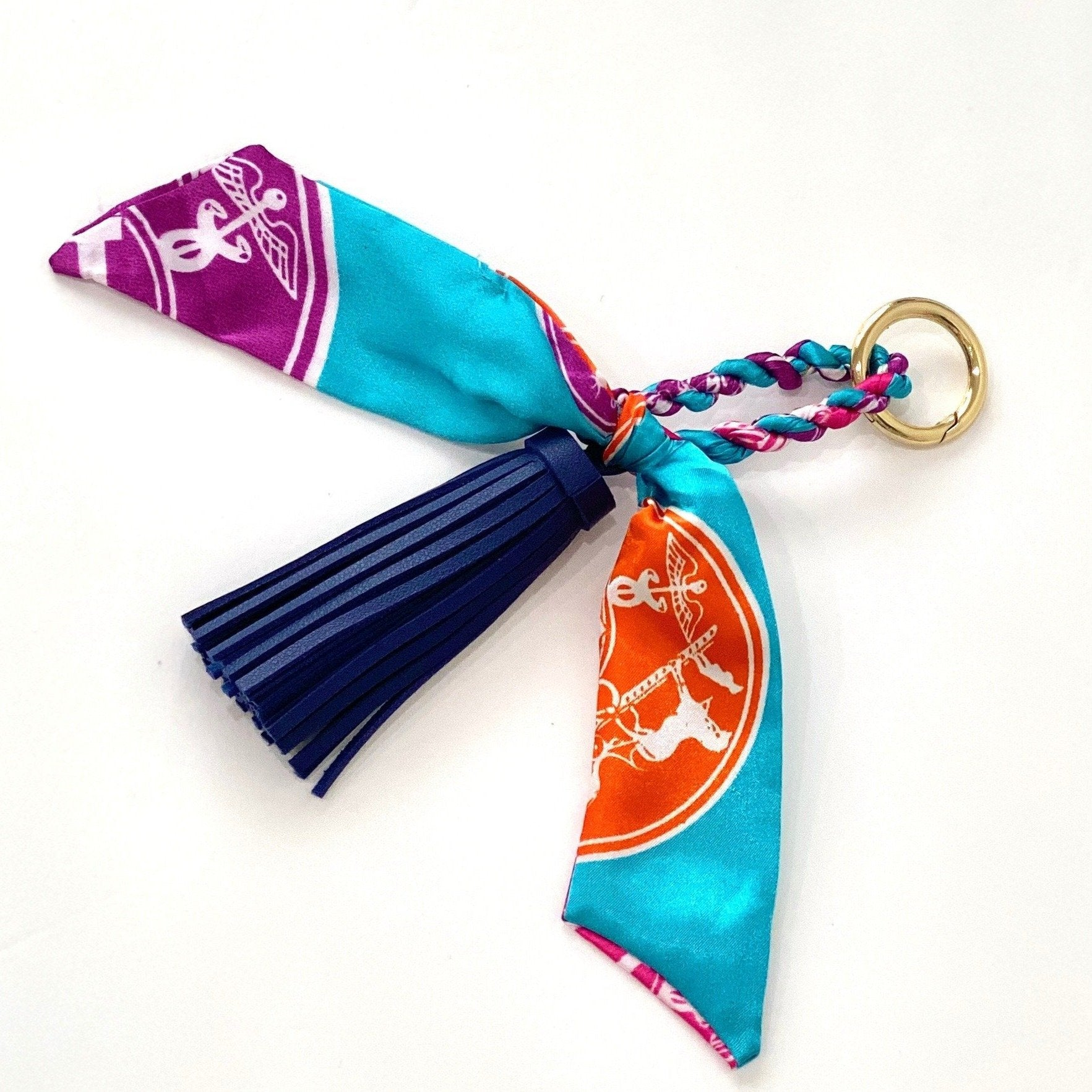 The Tassle Scarf Charm in Navy