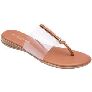 Nice - The Slide Sandal in Clear Andre Assous Slide on and go. The single clear band works with any outfit. Memory foam insoles make these as comfortable as they are easy. Walking. Lunching. Boardwalk, brunch, dinner. Easy Breezy.