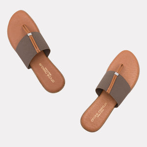 The Elastic Thong Sandal in Taupe