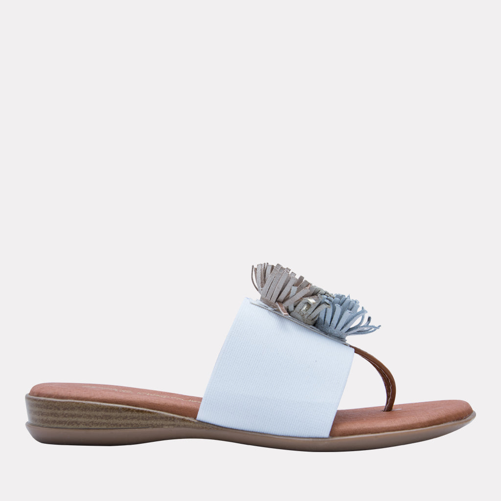 The Elastic Thong Sandal in White