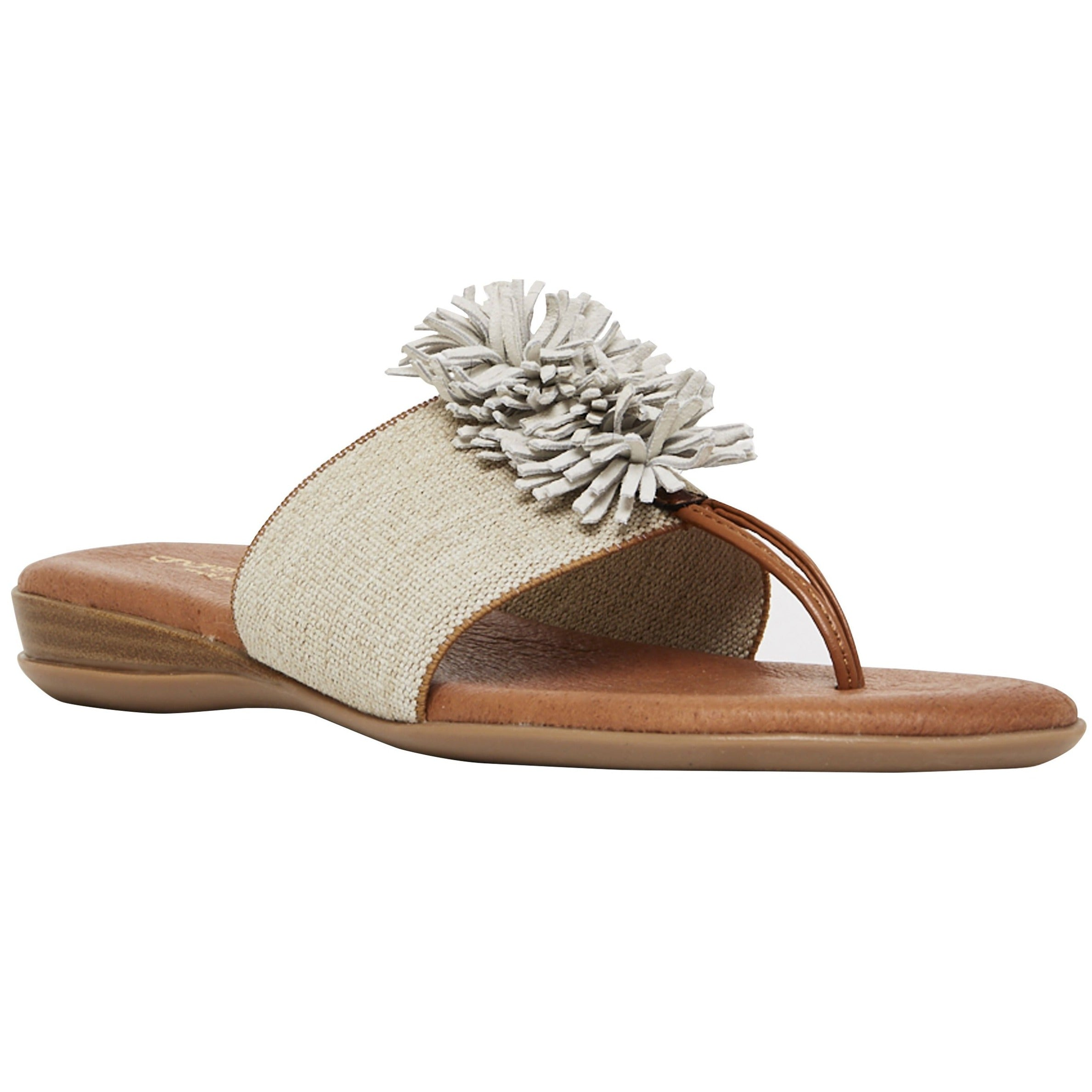 Slide on and go. The single band with festive puff decor adds a pop of fun to any ensemble. Feel delicious all day in memory foam cushioned insoles. Walking. Lunching. Boardwalk, brunch, dinner. Easy Breezy and So Cute.802568908107 802568908114 802568908121 802568908138 802568908145 802568908152 802568908169 802568908169 andre assous Novalee - The Elastic Thong Sandal in Beige Linen