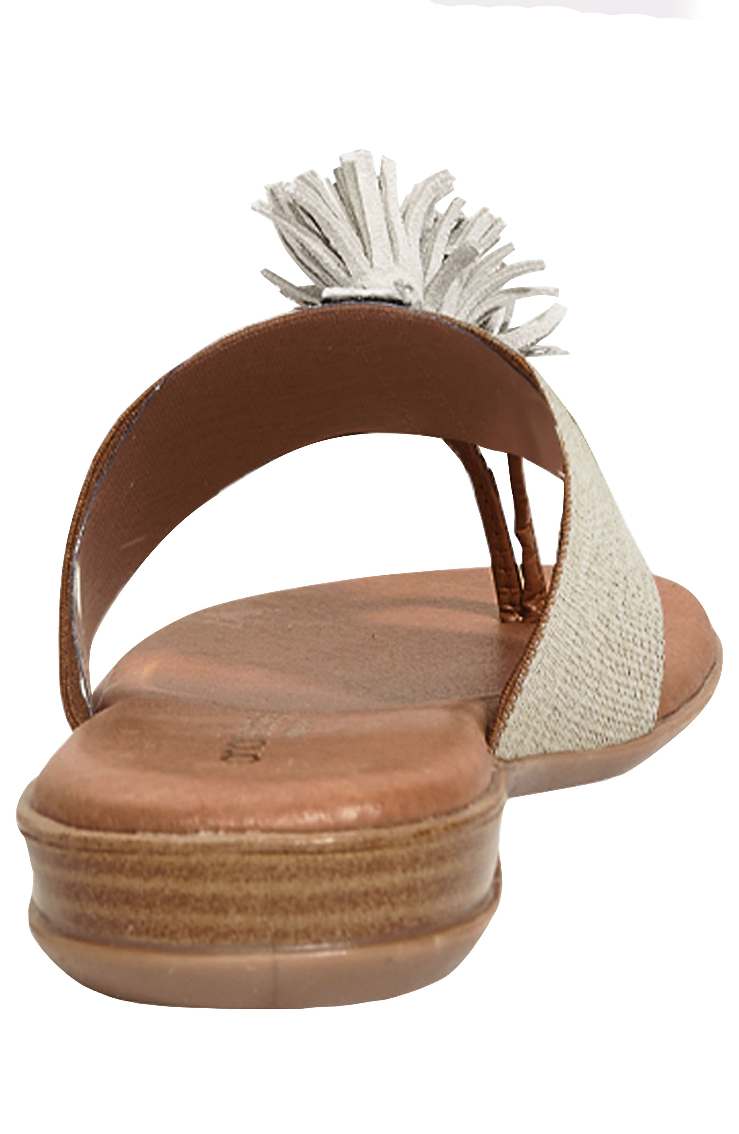 The Elastic Thong Sandal in Beige Linen