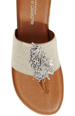 Load image into Gallery viewer, The Elastic Thong Sandal in Beige Linen