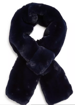 Load image into Gallery viewer, The Faux Fur Pull Through Scarf in Navy