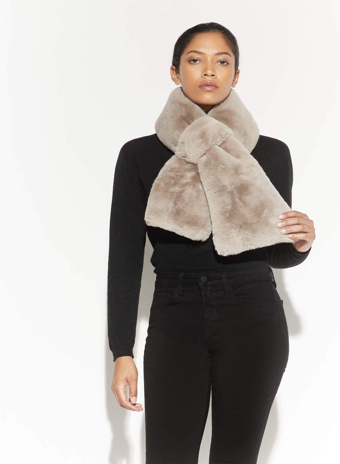 The Faux Fur Pull Through Scarf in Taupe