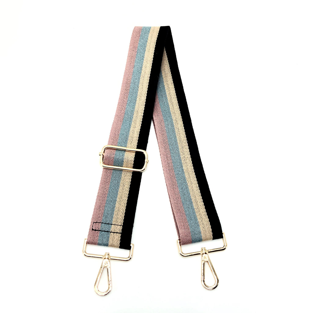 "Ahdorned BSGH143 - The Adjustable Bag Strap in Multi Stripe by Ahdorned. Adjustable length, including snap hooks. Long enough to wear on the shoulder or as crossbody. Measures 35""-54"" L"