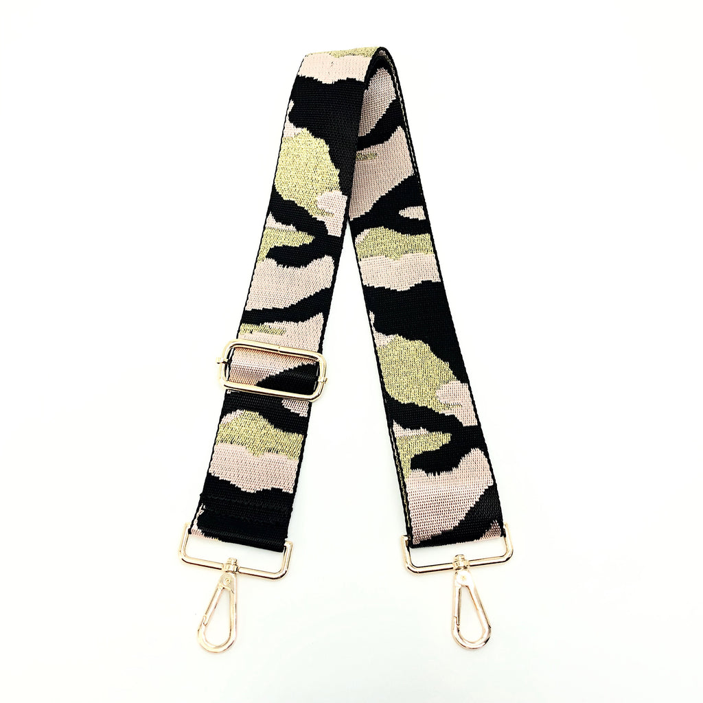"Ahdorned BSGH143 - The Adjustable Bag Strap in Soft Pink Camouflage by Ahdorned. Adjustable length, including snap hooks. Long enough to wear on the shoulder or as crossbody. Measures 35""-54"" L"