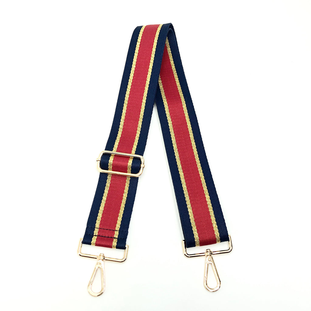 "Ahdorned BSGH143 - The Adjustable Bag Strap in Navy, Gold, and Red Stripe by Ahdorned. Adjustable length, including snap hooks. Long enough to wear on the shoulder or as crossbody. Measures 35""-54"" L"