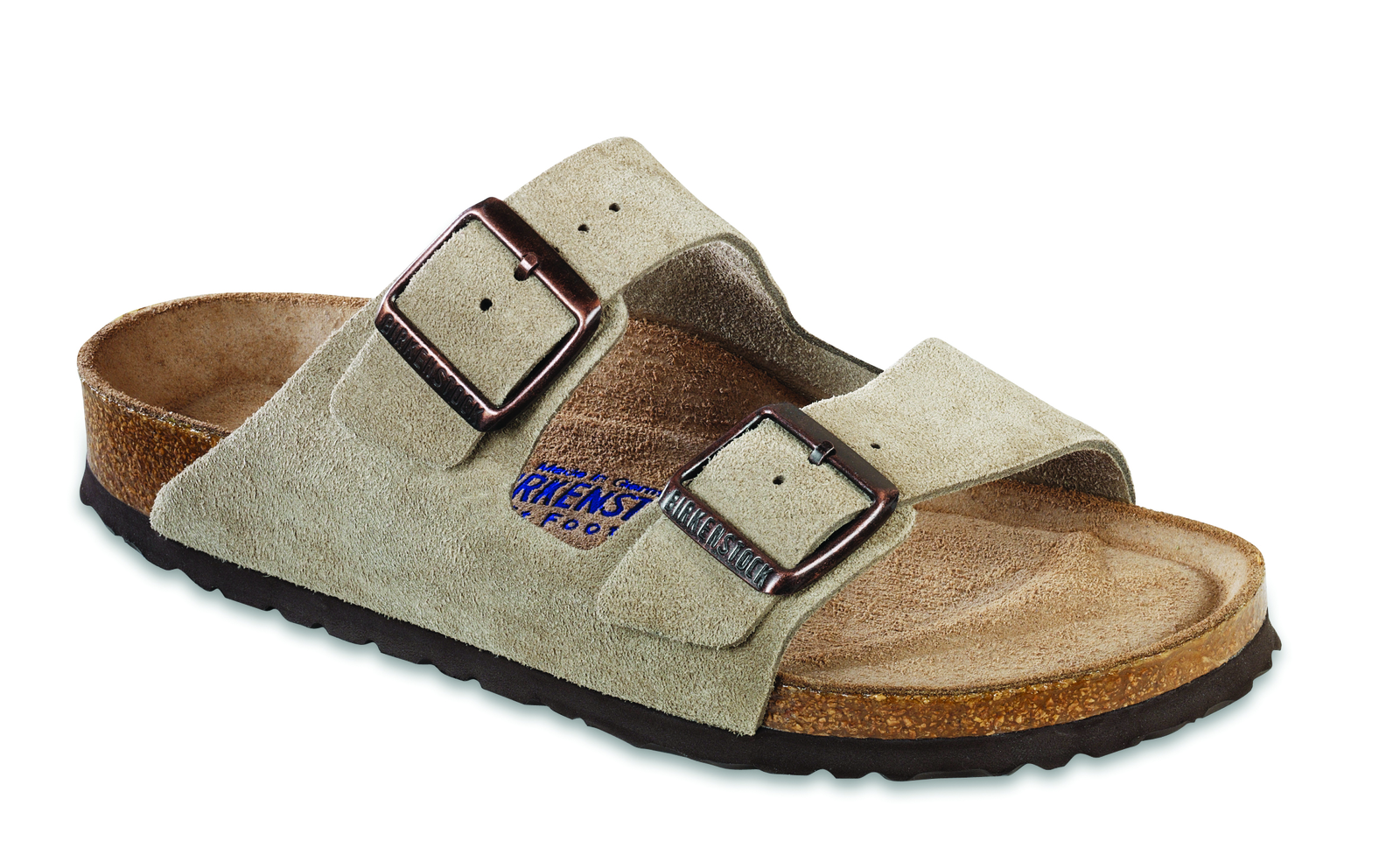 soft suede birkenstock arizona adjustable taupe sandal SIGNATURE DOUBLE STRAP SANDAL WITH BUCKLES
