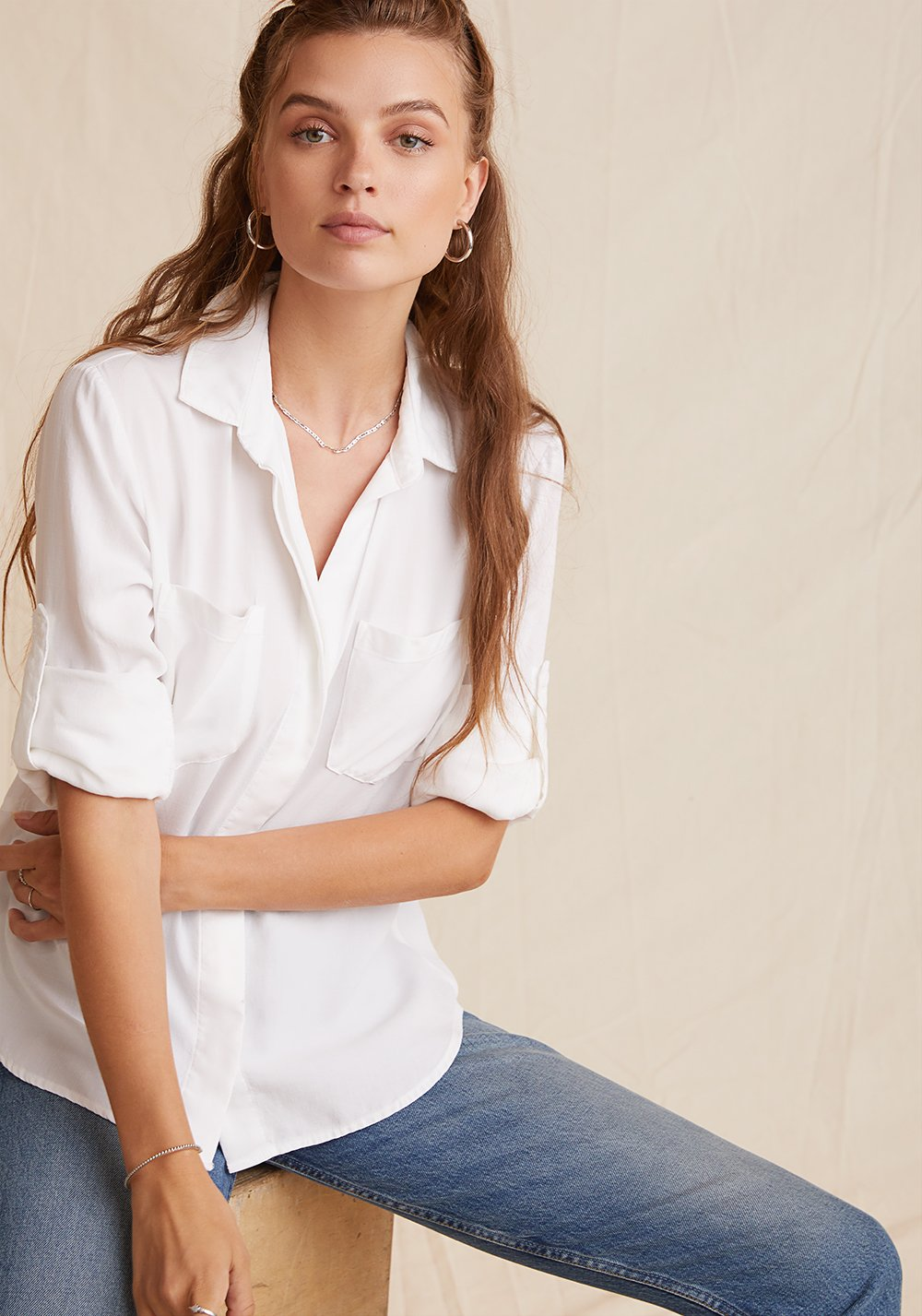 The Split Back Button Down in White