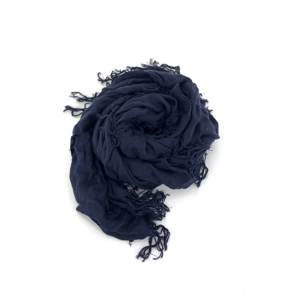 "TSD96 - Solid Tissue Scarf in Midnight by Blue Pacific. Super silky and lightweight makes this fringed scarf the perfect, hand dyed, layering piece. Oversized at 60"" x 60"" it can also be used as a wrap. Made in Spain."