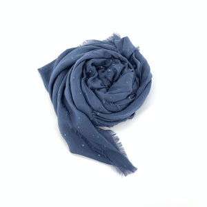 "VST56 - Vintage Stars Scarf in Denim by Blue Pacific. Super silky and lightweight makes this fringed scarf with hand foiled stars the perfect layering piece. Oversized at 82"" x 36"" it can also be used as a wrap. Made in Spain."