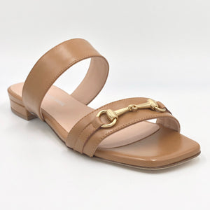 Fiore - The Bit Slide Sandal in Cuoio These stylish Italian leather 2 band sandals with gold bit ornament & leather soles are both luxurious & comfortable.