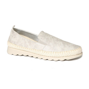 The Flexx Chappie - The Everyday Slip-On in Silver. This perfect walk everywhere shoe is a must have for anyone on the go. The upper is a supple snake printed leather with elastic gussets for easy fitting. The soles are rubber with a jute braid detail.