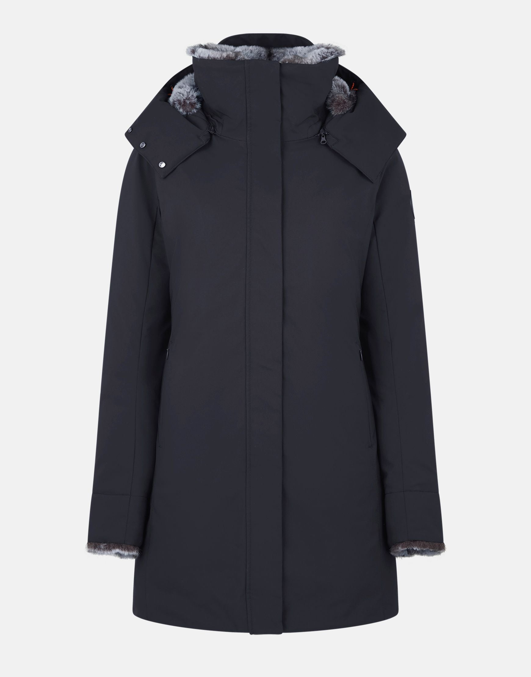 The Hooded Parka with Faux Fur Lining in Shadow Black