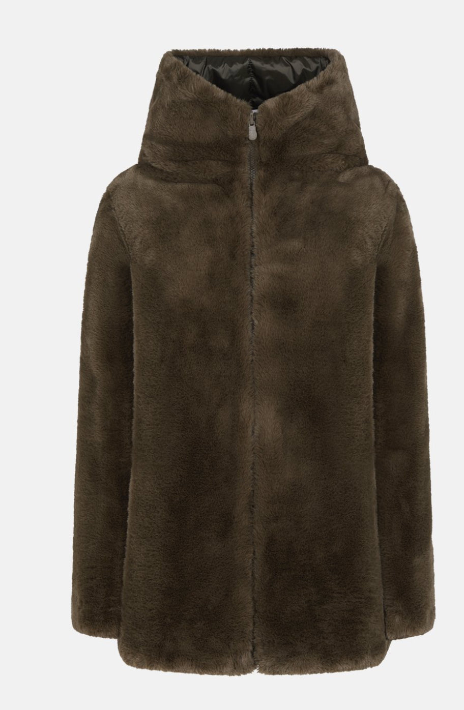 The Reversible Faux Fur Hooded Coat in Bark Green