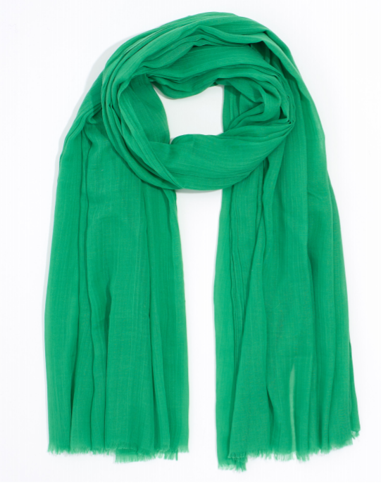 "Echo 806227 - Solid Crinkle Wrap in Green by Echo. Super soft with a natural crinkle texture. Oversized yet lightweight, making it a great versatile accessory. 38"" x 72"""