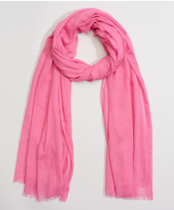 "Echo 806227 - Solid Crinkle Wrap in Pink by Echo. Super soft with a natural crinkle texture. Oversized yet lightweight, making it a great versatile accessory. 38"" x 72"""
