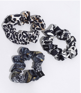 Echo EN0885 - Small Scrunchie Set in Black Multi by Echo. These hair ties are gentle on your hair, but big on the fun factor. Sold in a pack of 3.
