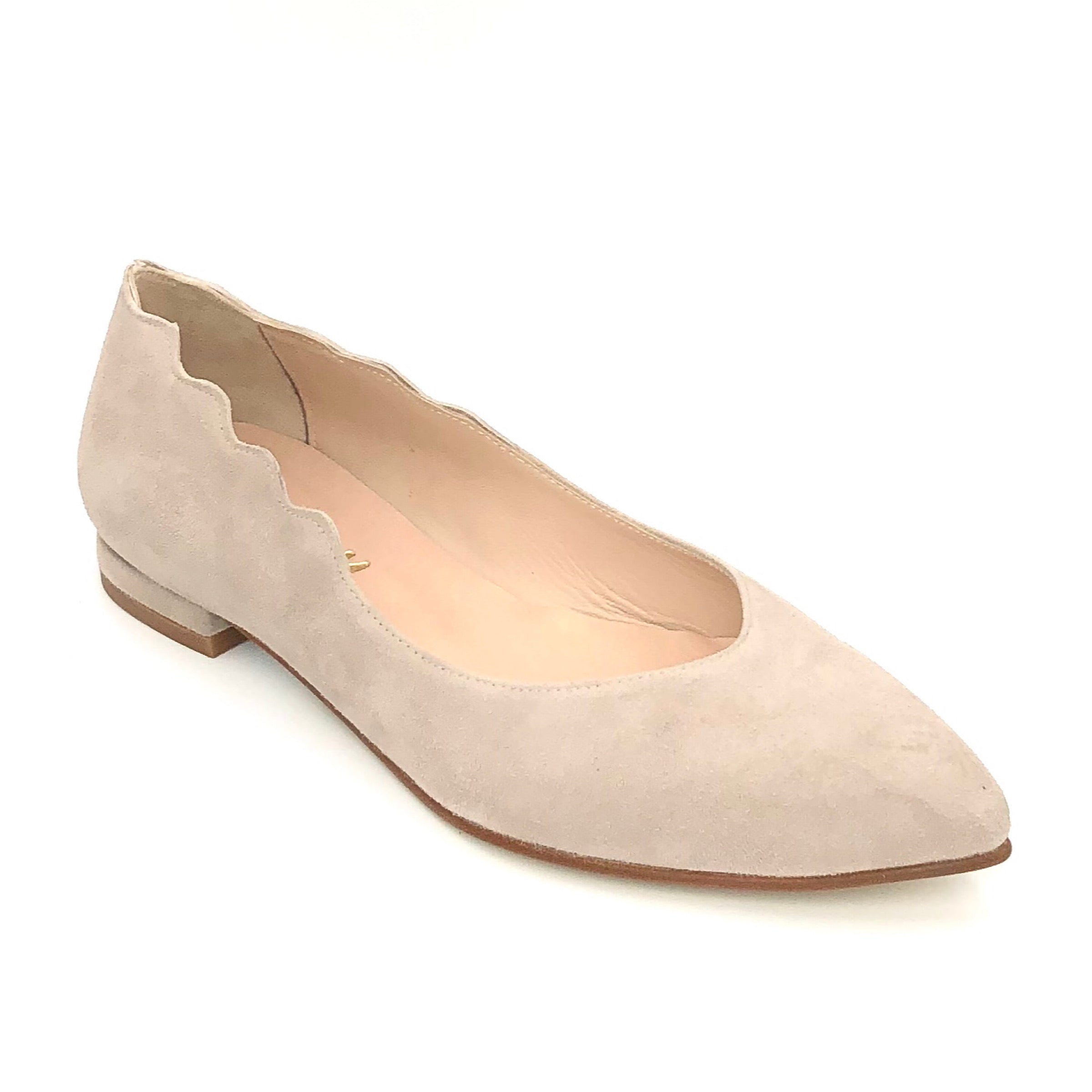 French Sole Farmington - The Almond Flat with Scallop Edge in Navy Feminine & fashionable almond toe flat with scallop top-line & low heel. Suede upper, leather lining & leather sole.