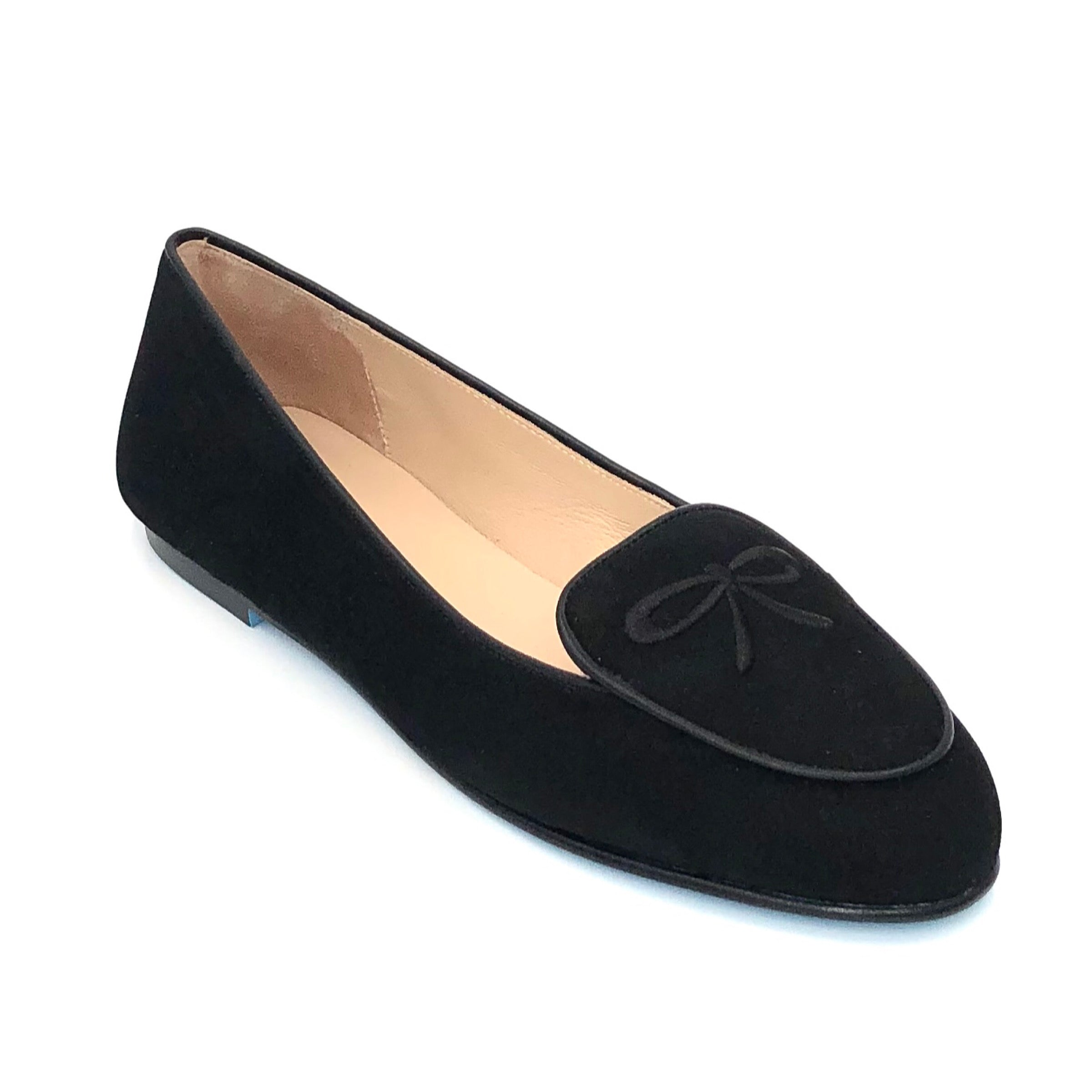 Madison The Belgium Loafer in Black. This French Sole x Nicky Hilton modern take on the classic Belgium loafer is both stylish & sophisticated. Suede upper with embroidery, leather lining & leather sole. Made in Spain.
