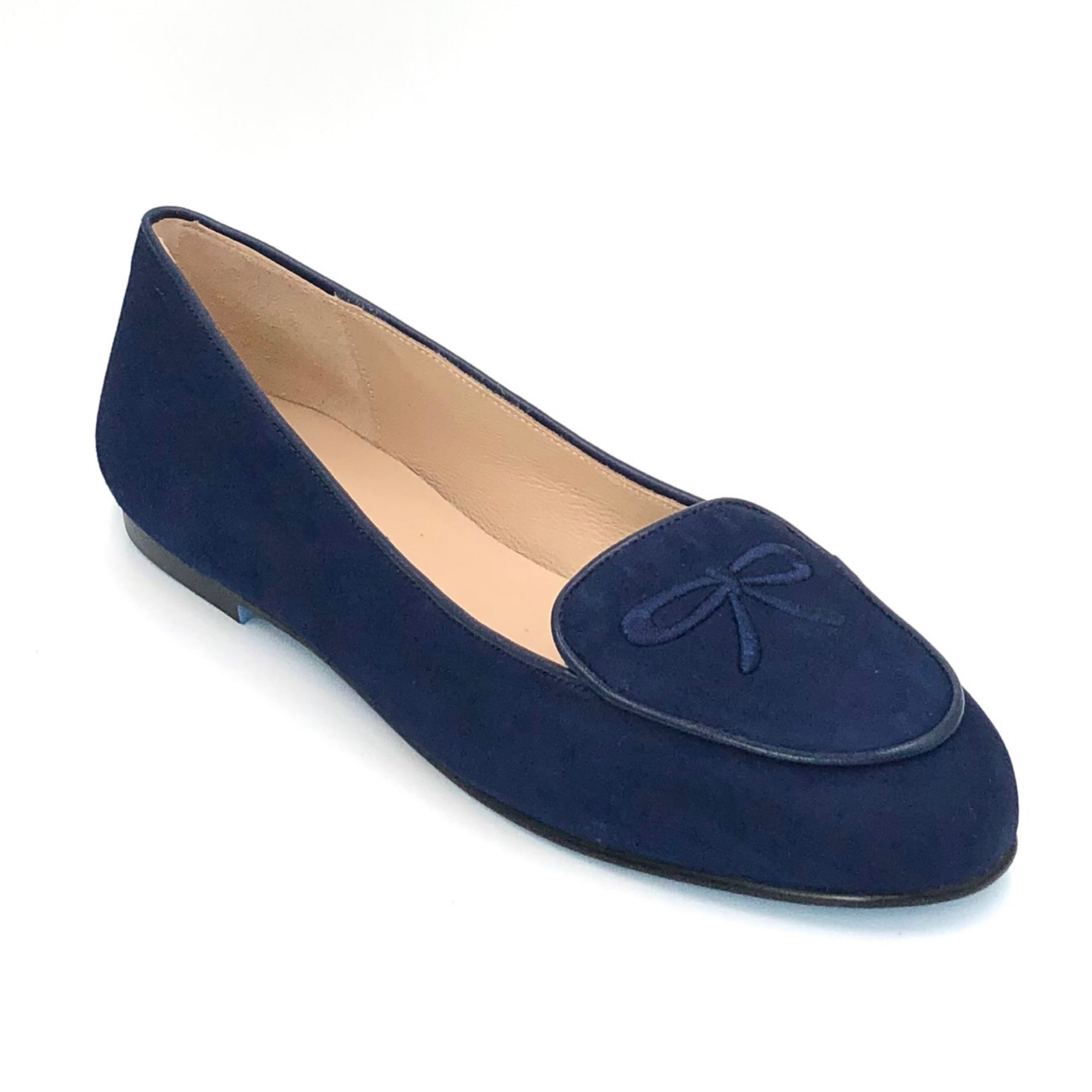 French Sole Madison - The Belgium Loafer in Navy. This French Sole x Nicky Hilton modern take on the classic Belgium loafer is both stylish & sophisticated. Suede upper with embroidery, leather lining & leather sole. Made in Spain.