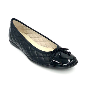 Passport - The Quilted Cap Toe Ballet in Black,. You will simply love this best selling classic ballet flat with adjustable tie. It is a must for everyone's shoe closet! Supple quilted leather upper, patent leather cap toe, leather lining & full rubber sole.