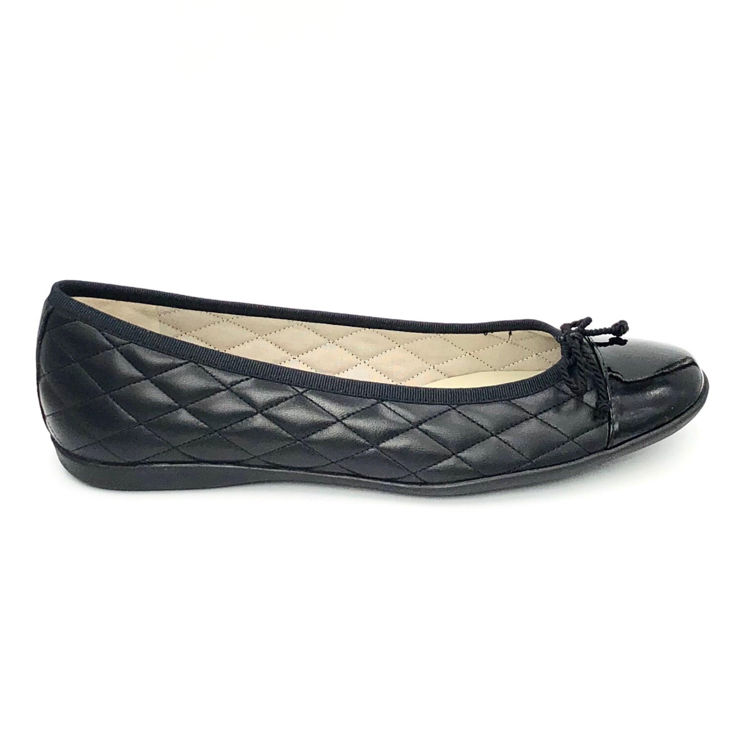 The Quilted Cap Toe Ballet in Black