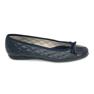 The Quilted Cap Toe Ballet in Navy