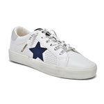 Load image into Gallery viewer, Gadol The Star Perforated Lace Sneaker in White Navy Vintage  Havana. This best selling perforated white lace sneaker with navy star is sylish, chic & versatile. Synthetic & leather upper, rubber sole, terry cloth lining & elastic laces for easy slip-on styling.