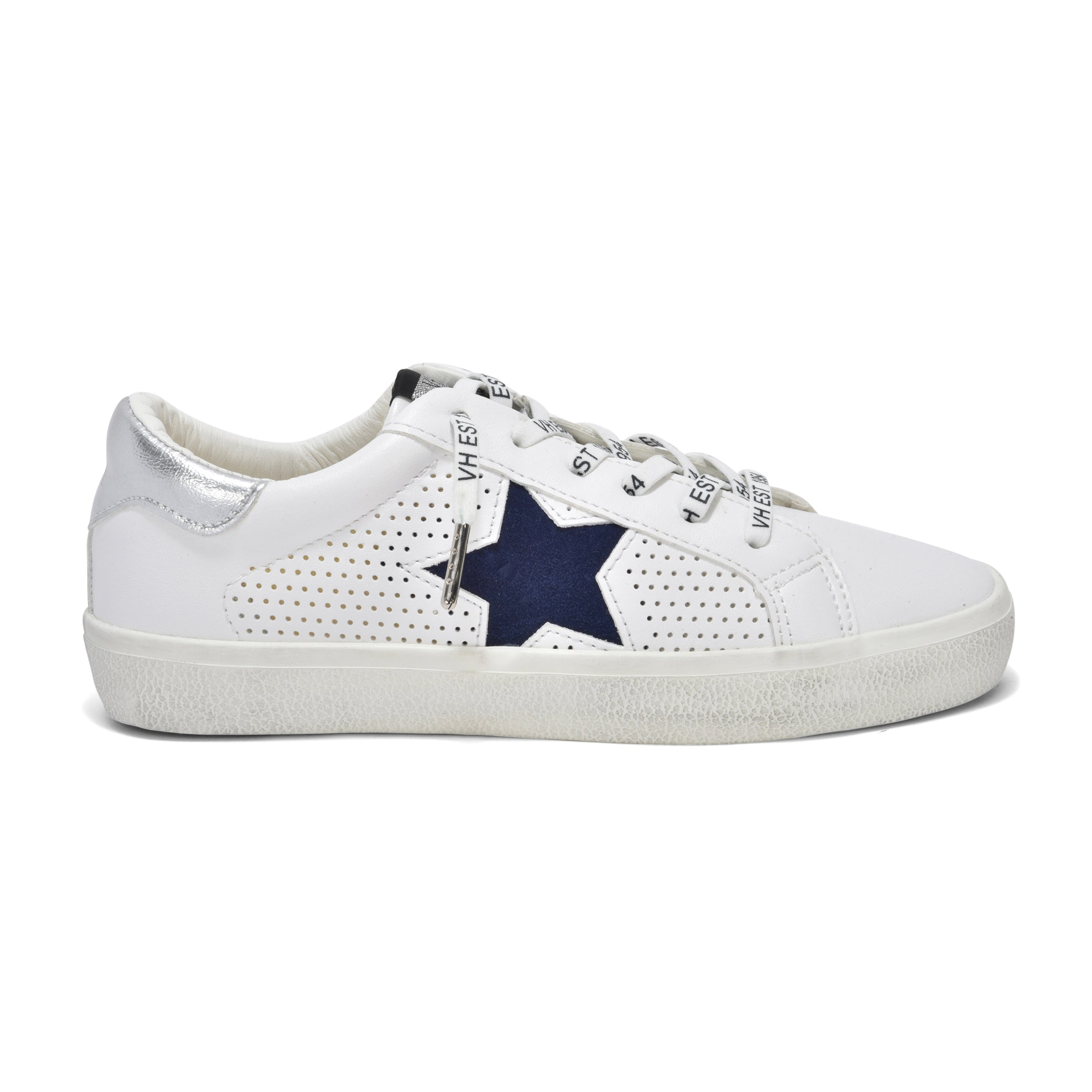 The Star Perforated Lace Sneaker in White Navy