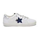 Load image into Gallery viewer, The Star Perforated Lace Sneaker in White Navy