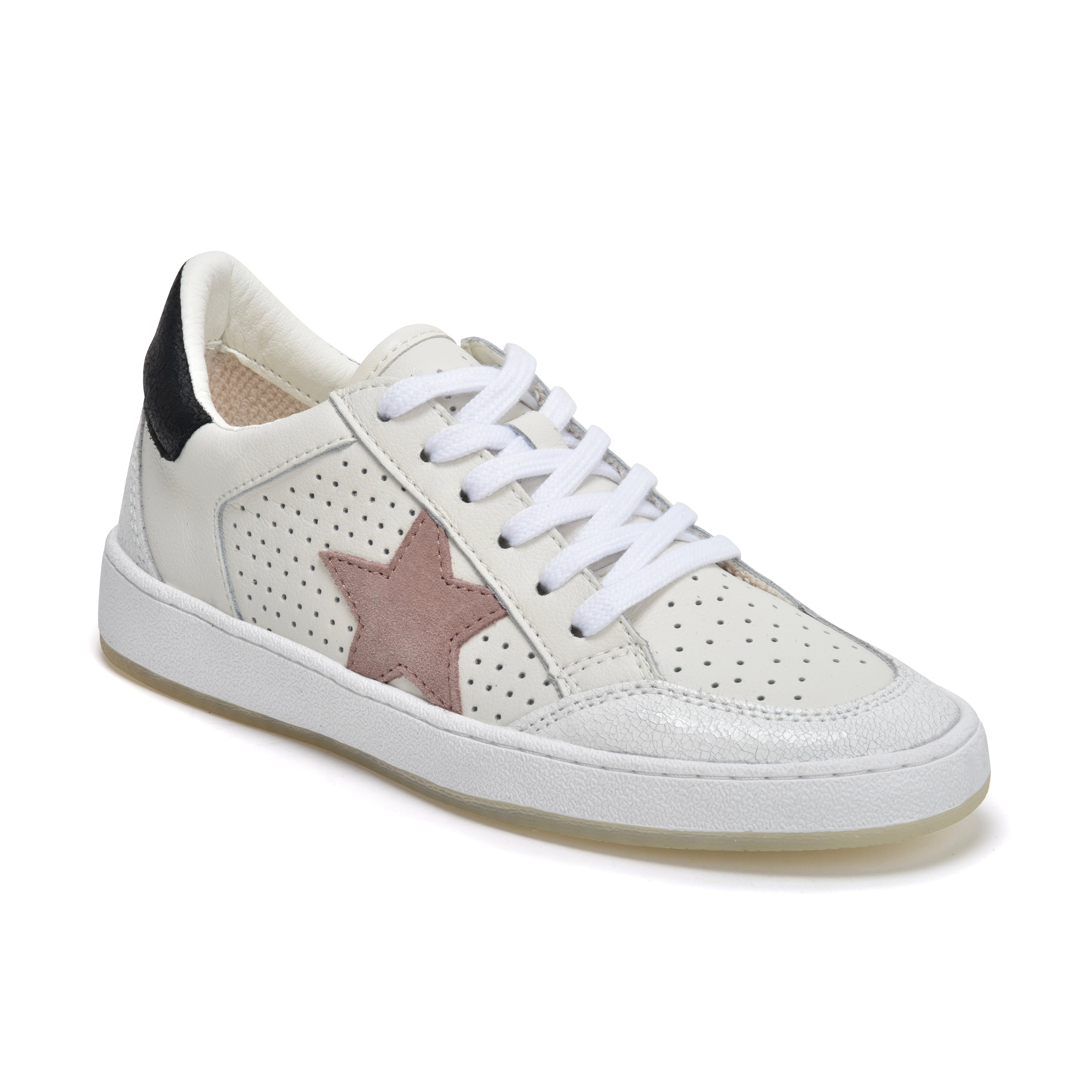 Vintage Havana Ginette - The New Star Perforated Lace Sneaker in White Taupe We are in love with this new low profile perforated fashion forward lace sneaker with taupe suede star. Leather upper, rubber sole, terry cloth lining & padded insole.